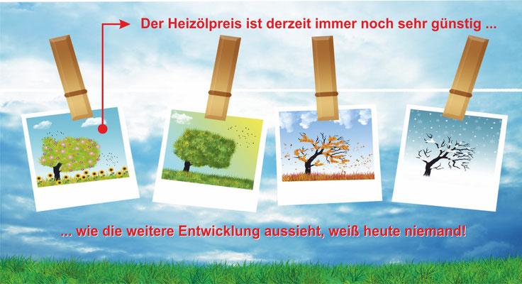 Postkarte Jahreszeiten auf Wäscheleine