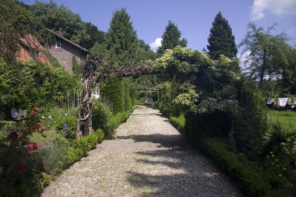 Weg mit Blickachse auf das runde Beet #AltesForstamtimteutoburgerwald#