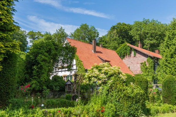Blick auf den Garten des Alten Forstamtes im Teutoburger Wald