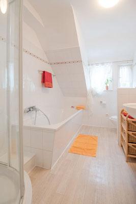 Badezimmer Ferienwohnung Hofgarten #AltesForstamtimteutoburgerwald#