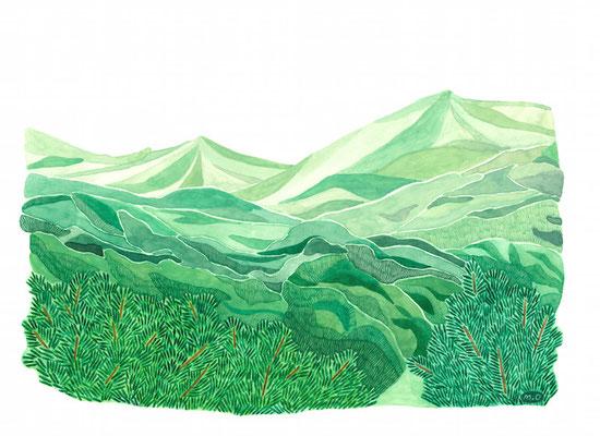 「青い、青い山」 Watercolor.    2020 Private collection.