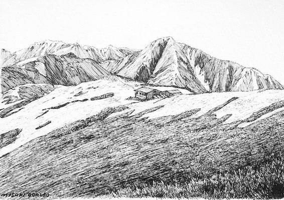 北アルプス 蝶ヶ岳から下山時、振り返った景色