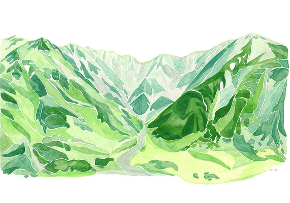「立山連峰をのぞむ」  Watercolor. 2017 Private collection.