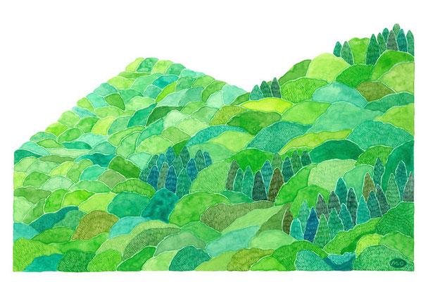 「緑の頃」 Watercolor.    2020 Private collection.