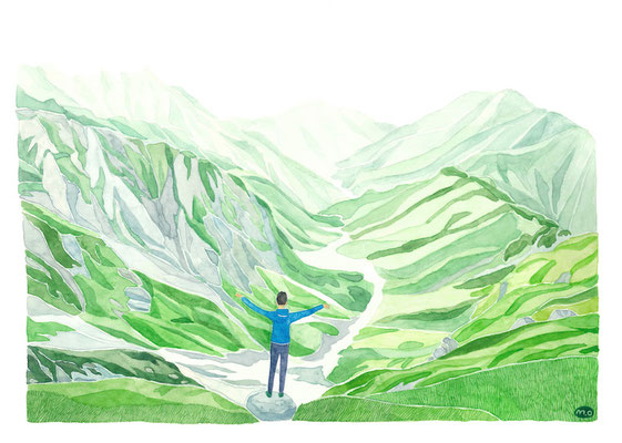 「夏を駆ける」 Watercolor.    2020