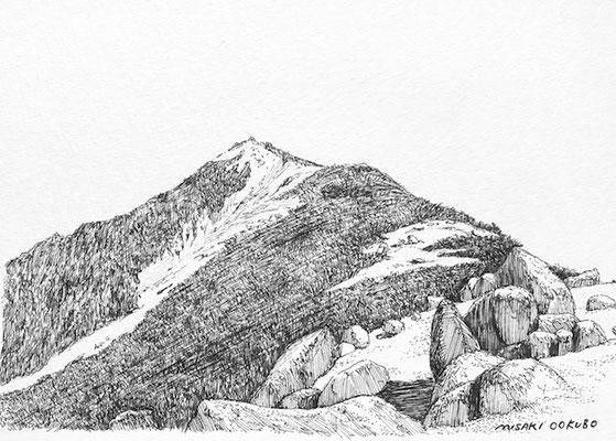 南アルプス 鳳凰三山 樹林帯を抜けて稜線に出た。