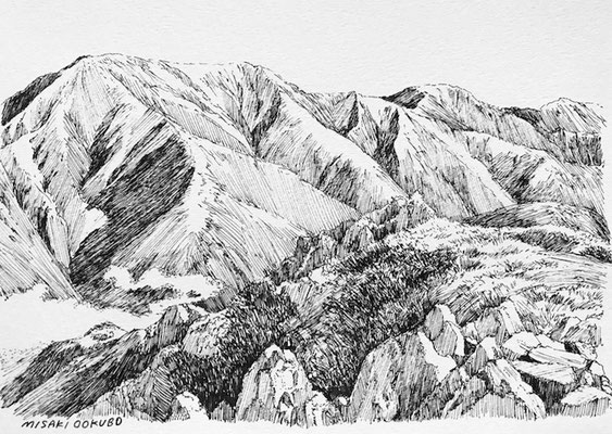 南アルプス南部 上河内岳から聖岳をのぞむ