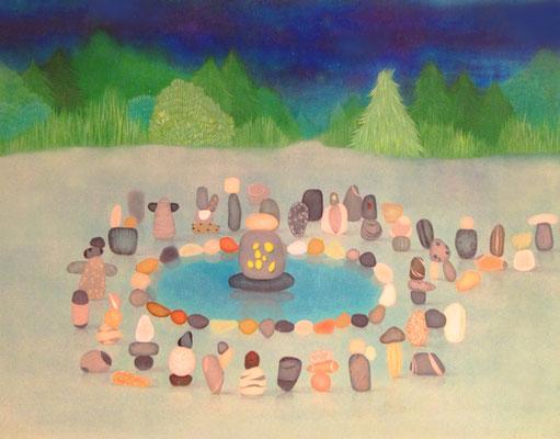 石神様     God of Stones.              F50    Oil on canvas, 2009