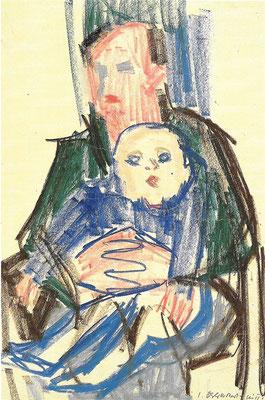 Vater und Sohn, 1964, Pastell auf Papier, 42 x 60 cm