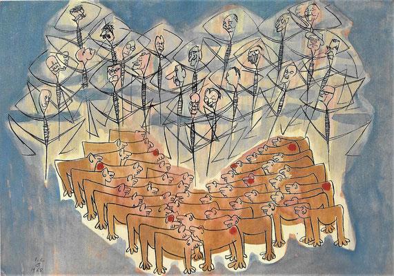 Und soweit die Bestätigung des in sie gesetzten Vertrauens, 1968, Mischtechnik auf Bütten, 76 x 54 cm