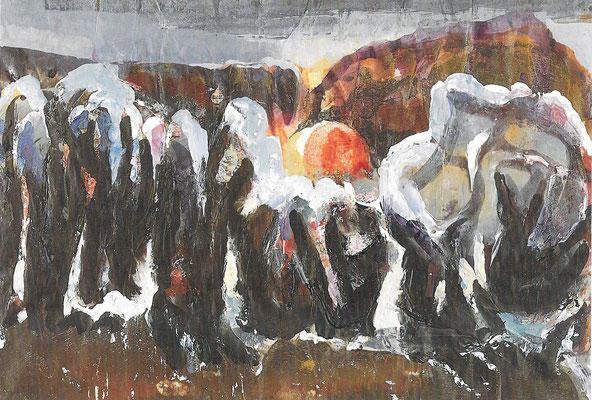 Winterliche Abendlandschaft, Monotypie, 1968