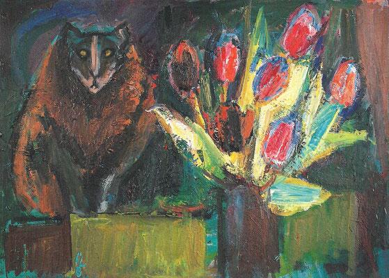 Mystische Katze, 1973, Öl auf Hartfaser, 99 73 cm