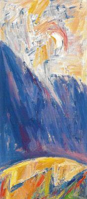 Sommerabend mit aufziehendem Gewitter, 1987, Öl auf Hartfaser, 54 x 118 cm