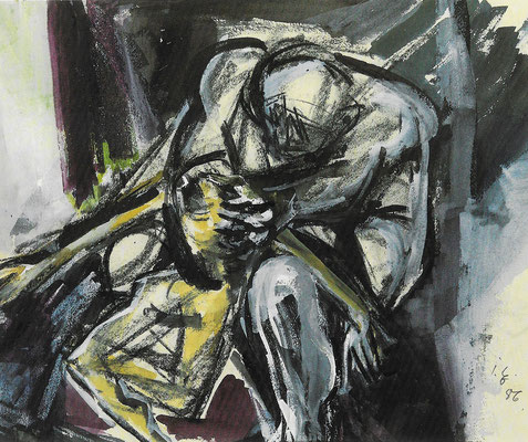 Kindermord, 1986, Mischtechnik auf Bütten, 50 x 42 cm