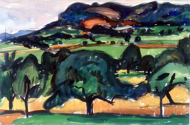 Buchberg, um 1960, Aquarell, 46 x 30 cm