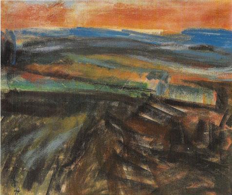 Kleiner Feldweg, 1977, Pastell auf Papier, 55 x 46 cm