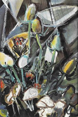 Disteln, 1969, Aquarell auf Papier, 51 x 77 cm