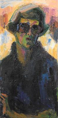 Selbstbildnis, 1984, Öl auf Leinwand, 50 x 100 cm