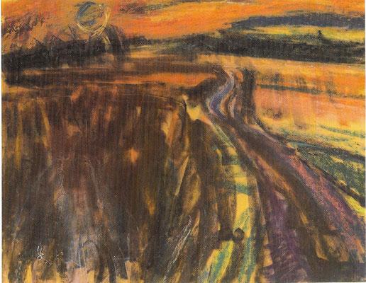 Feldweg in der Dämmerung, 1977, Pastell auf Japan, 62 x 50 cm