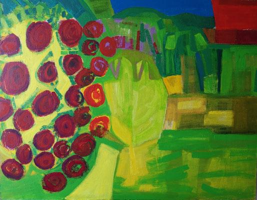 Blick in Den Garten, Acryl auf Hartfaser, 85 cm x 110 cm