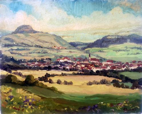 Hilzingen mit Hohentwiel, 1947, Öl auf Hartfaser, 60 x 45 cm