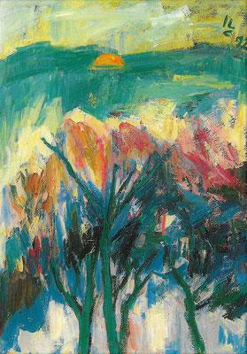 Wintersonne, 1992, Öl auf Leinwand, 70 x 100 cm