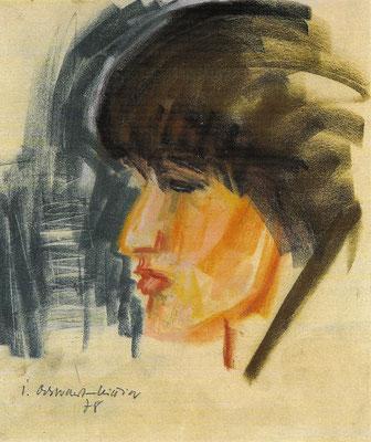 Portrait Rotraud, 1978, astell auf Papier, 32 x 38 cm