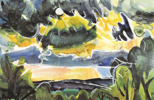 Seelandschaft mit bewegtem Himmel, 1963, Aquarell auf Papier, 100 x 66 cm
