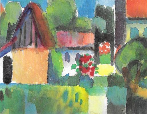 Gehöft im Sommer, 1968, Aquarell auf Bütten, 17,5 x 14 cm