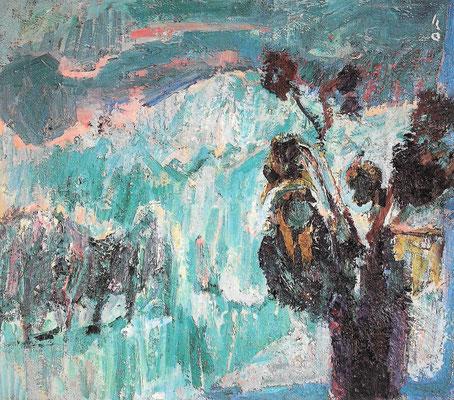 Schneetreiben vor Fenster, 1980, Öl auf Leinwand, 80 x 70 cm