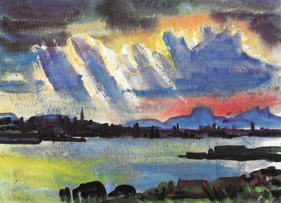 Untersee mit Hegaubergen, 1967, Aquarell auf Papier, 77 x 56 cm