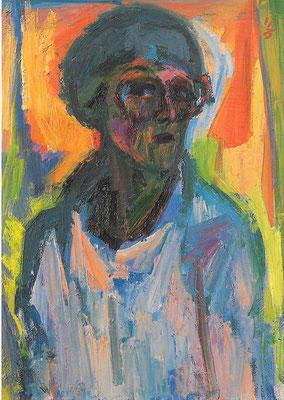 Selbstbildnis, 1985, Öl auf Leinwand, 70 x 100 cm