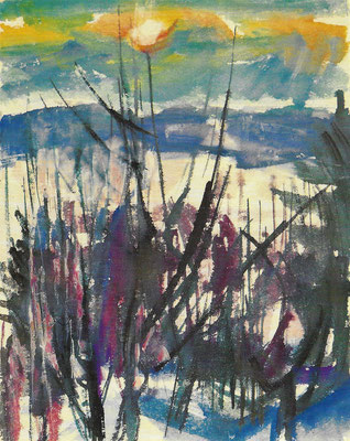 Wintersonne, 1990, Aquarell auf Japan, 52 x 66 cm