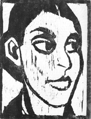 Frauenkopf, Holzschnitt, 1952