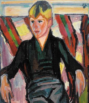 Portrait Gunnar, 1968, Öl auf Hartfaser, 85 x 105 cm