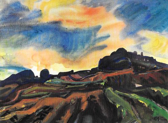 Mägdeberg, 1968, Aquarell auf Papier, 96 x 71 cm