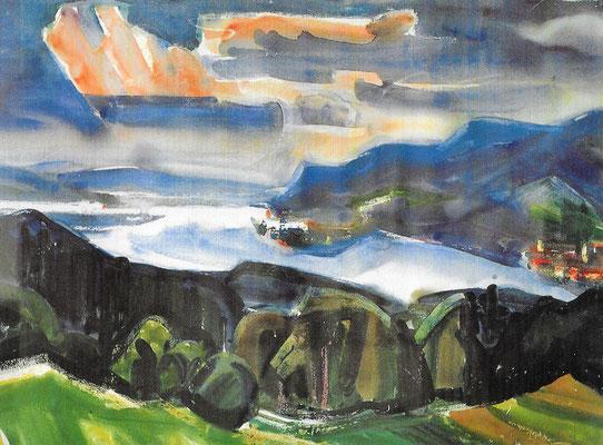 Landschaft am Untersee, 1965, Aquarell auf Papier, 99 x 73 cm