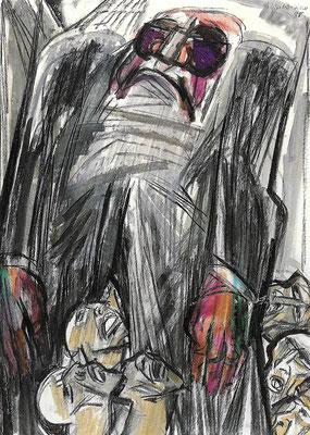 Der Politiker, 1988, Mischtechnik auf Bütten, 74 xx 103 cm