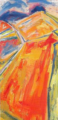 Erntelandschaft, 1987, Öl auf Hartfaser, 59 x 118 cm