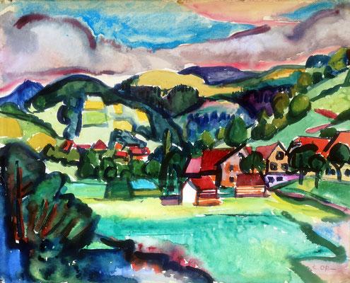 Landschaft bei Staufen, 1955, Aquarell, 63 x 51 cm
