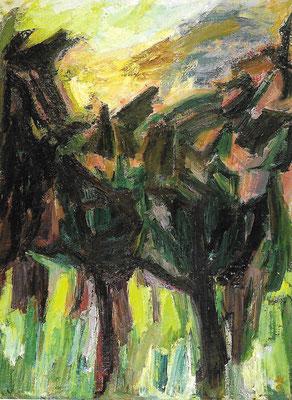 Bäume im Gegenlicht, 1975, Öl auf Hartfaser, 74,5 x 105 cm