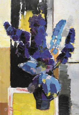 Rittersporn, 1964, Öl auf Hartfaserplatte, 67 x 98 cm