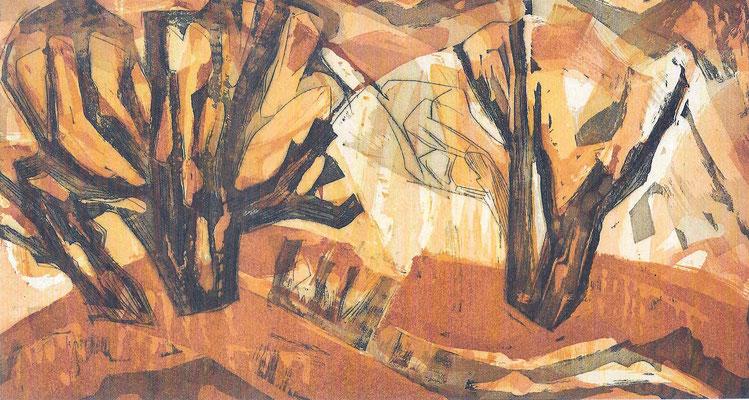 Bäume im Herbst, Aquatinta, 1968