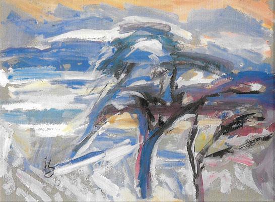 Winter, 1990, Mischtechnik auf Bütten, 77 x 57 cm