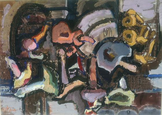 Pilz-Stilleben, 1968, Mischtechnik auf Papier, 68 x 48 cm