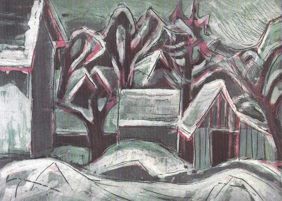 Häuser im Schnee, 1968, Aquatinta-Radierung auf Bütten, 45 x 33 cm