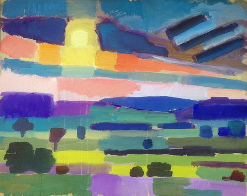 Hegaulandschaft, 1967, Acryl auf Karton, 75 x 60 cm