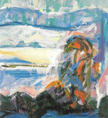 Besonnte Winterlandschaft, 1986, Öl auf Hartfaser, 53 x 59 cm