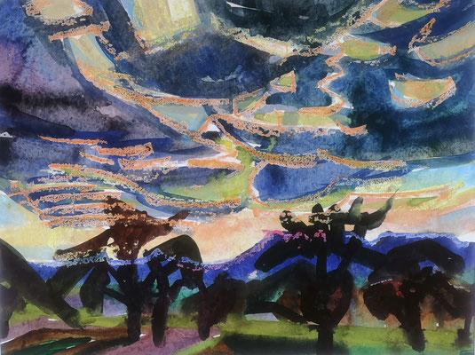 Im Gegenlicht, 1967, Aquarell, 65 x 50 cm