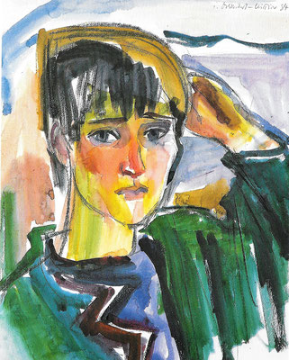 Portrait Rotraud, 1984, Aquarell auf Bütten, 51 x 63 cm